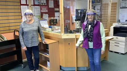 Staff at the covid-safe Congresbury Community Library. Picture: Di Hassan