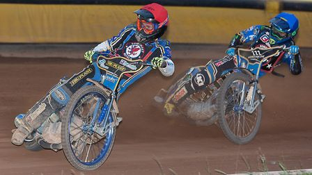 Jason Doyle and Jack Holder on their way to a one-two in the 15th heat of ther Somerset Rebels in th