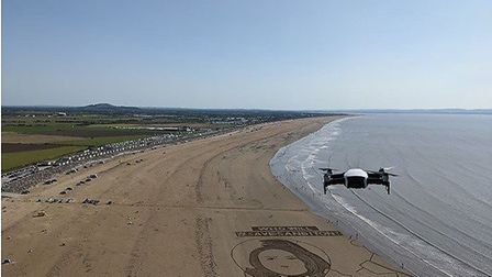 A drone used to capture images of Simon's art work in the sand at Brean Cove.