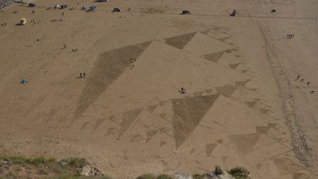 Simon Beck's 500th sand art drawing on Brean Sands
