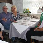 Margaret with her husband, friends and the manager at Mediterranevm