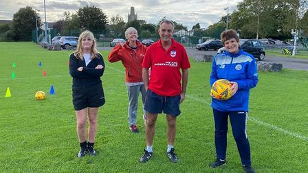 The Yatton Trio and England Over 60's Walking Football manager, Stuart Longworthy.