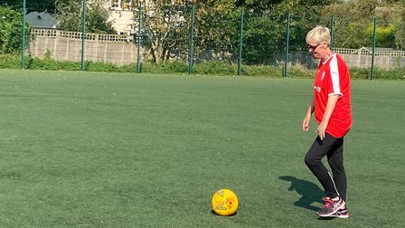 Marie suffers with spinal issues but has developed her footballing ability over lockdown.