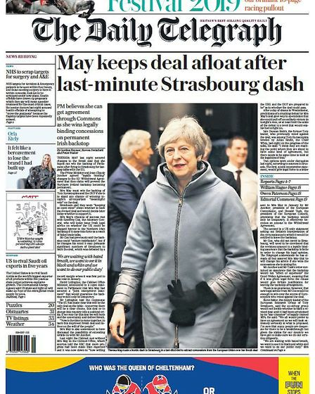 The Daily Telegraph front page. Photograph: Daily Telegraph/Twitter.