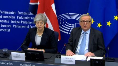 European Commission President Jean-Claude Juncker making a statement, with Prime Minister Theresa Ma