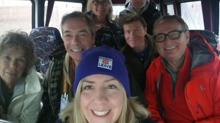 Andrea Jenkyns, Kate Hoey, Nigel Farage and Leave Means Leave supporters on the way to Sunderland. P