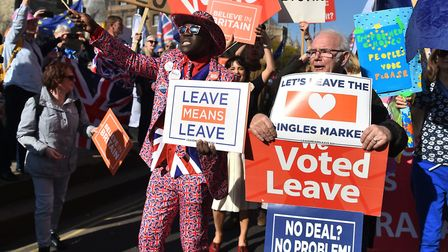 Pro-Brexit demonstrators on Millbank, Westminster. Photograph: Kirsty O'Connor/PA Wire.