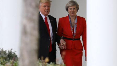 Donald Trump meets with Theresa May at the White House.