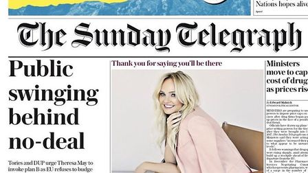 The Sunday Telegraph's front page. Photograph: Supplied.