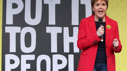 First Minister of Scotland Nicola Sturgeon addresses the People's Vote March in London.