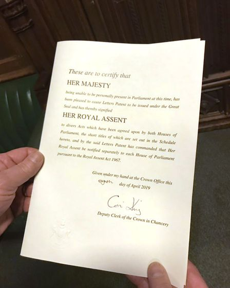 Handout photo from the Twitter page of Yvette Cooper of the Royal Assent for her cross party bill. P