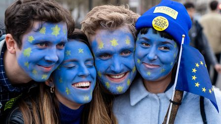 Pro-European protesters at a rally organised by the pro-European People's Vote campaign for a second