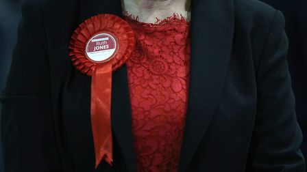 A rosette on the jacket of Welsh Labour candidate Ruth Jones as she awaits the results of the Newpor