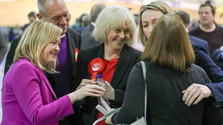 Welsh Labour candidate Ruth Jones (centre) awaits the results of the Newport West by-election. Photo