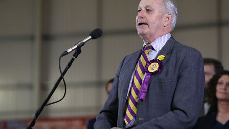 UKIP candidate Neil Hamilton makes a speech after the Newport West by-election. Photograph: Andrew M