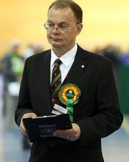 Plaid Cymru candidate Jonathan Clark during the Newport West by-election. Photograph: Andrew Matthew