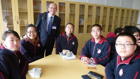 Julian Baldwin with maths and science students in China.