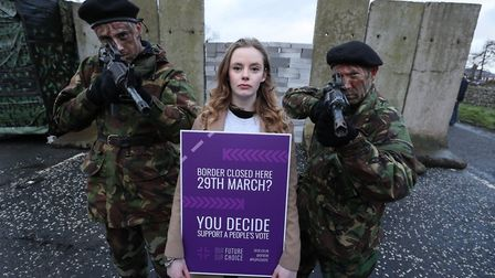Doire Finn campaigning on the Irish border as part of an anti-Brexit protest. Photograph: PA.