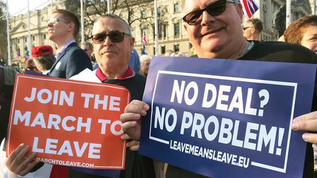 Brexit demonstrators Les Curtis (left) and Ray Finch (right) in Parliament square London. They were