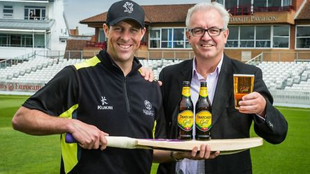 Somerset captain Marcus Trescothick and Thatchers marketing director Maurice Breen