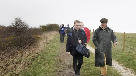Nigel Farage (right) at Easington Colliery during The March to Leave protest which set off from Sund