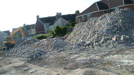 This pile of rubble is all that remains of Weston's Ashcombe pub.