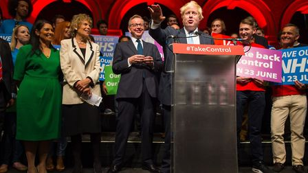 Boris Johnson (right) speaks alongside (from left to centre) Priti Patel, Kate Hoey and Michael Gove