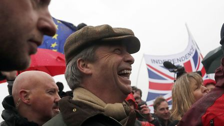 Nigel Farage's Leave Means Leave protest in Sunderland. (AP Photo/Frank Augstein)