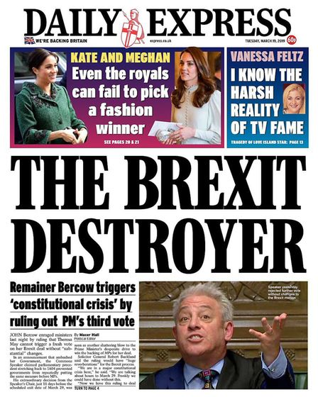 The front page of the Daily Express this week. Photograph: Express/Twitter.