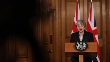 Prime Minister Theresa May making a statement about Brexit in Downing Street. Photograph: Jonathan B