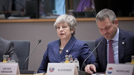 Theresa May sat next to the Prime Minister of Slovakia Peter Pellegrini during the European Leaders'
