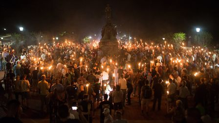 Neo nazis, alt-right, and white supremacists at a 'Unite the Right' rally in Charlottesville. Photo