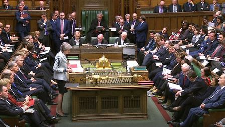 Prime Minister Theresa May makes a statement on Brexit to the House of Commons. Photograph: House of Commons/PA Wire.