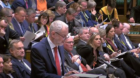 Labour Leader Jeremy Corbyn responds to the PM. Photograph: House of Commons/PA Wire.