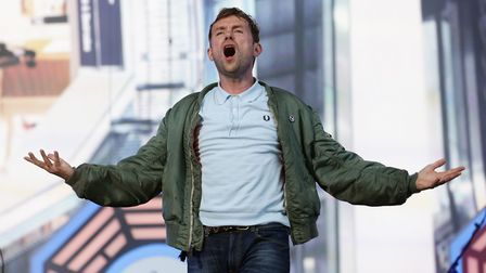 Damon Albarn of Blur performing on the Great Oak Stage at the British Summer Time Hyde Park festival