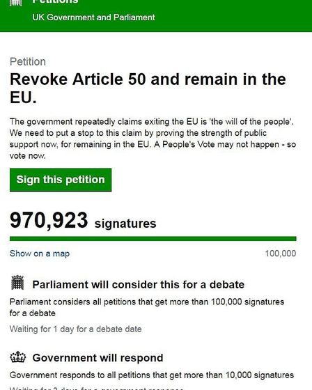 A petition calling to revoke Article 50 is approaching one million signatures. Photo: Petitions UK P