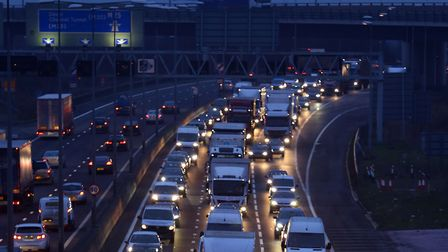 The M25 in Dartford, where Brexiteers had hopen to cause chaos by going slow. Photograph: Gareth Ful