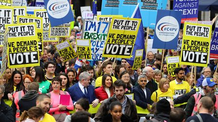 The People's Vote March in London. Photograph: Aaron Chown/PA Wire.