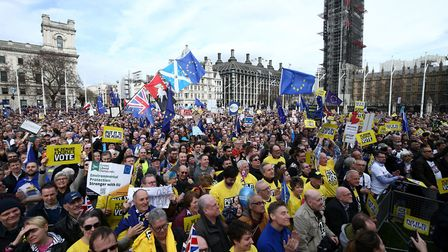 Anti-Brexit campaigners taking part in the People's Vote March in London. Photograph: Yui Mok/PA Wir