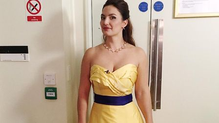 Anna Patalong's pro-EU dress which she was urged not to wear for her latest concert. Photograph: Twi
