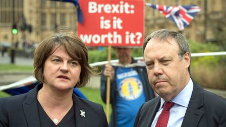 DUP leader Arlene Foster and deputy leader Nigel Dodds pictured with anti-Brexit campaigner Steve Bray