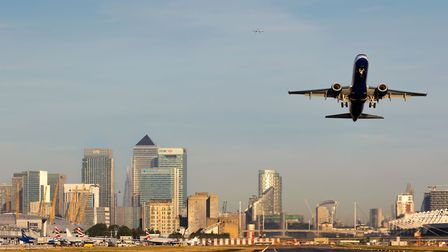A British Airways flight takes off from London's City Airport (question five)