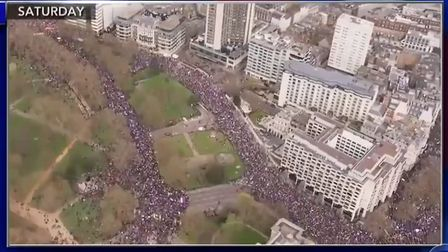 Aerial footage of a People's Vote March on Stephen Colbert's CBS show. Photograph: CBS.