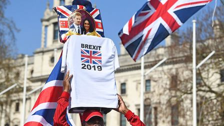 Pro-Brexit protesters rally outside the Houses of Parliament. Photograph: Victoria Jones/PA Wire.
