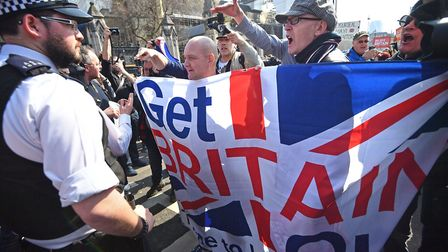Pro-Brexit protesters outside Westminster. Photograph: Victoria Jones/PA Wire.