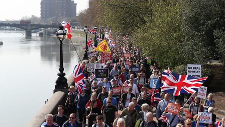 Pro-Brexit protesters rally outside the Houses of Parliament. Photograph: Steve Parsons/PA Wire.