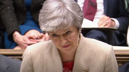 Prime Minister Theresa May speaks in the House of Commons during a Brexit debate. Photograph: House
