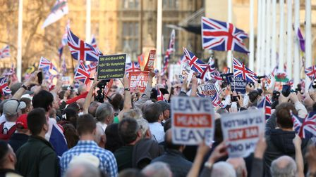 Protesters in Parliament Square, during The March to Leave protest. Photograph: Yui Mok/PA Wire