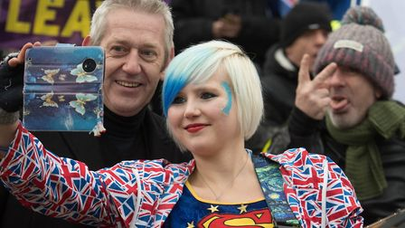 Anti Brexit campaigner and 'EU Supergirl' Madeleina Kay poses for a selfie outside the Houses of Par