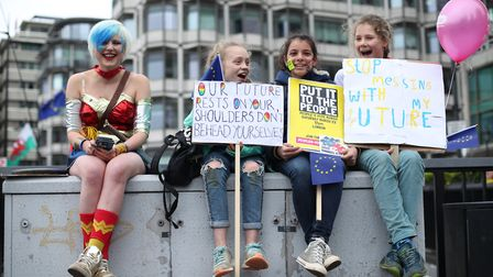 EU Supergirl Madeleina Kay at the People's Vote March. (Yui Mok/PA)